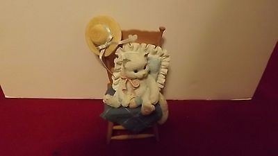 Enesco Calico Kittens Waiting For A Friend 1993 Kitten Sitting In Chair