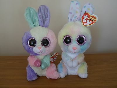 Ty Beanie Boos Boo pair of Easter rabbits; Bloom and new 2017 release Bubby
