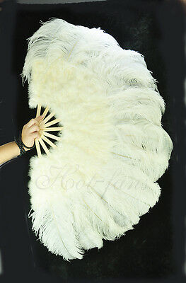 "Beige 27"" x 53""  Marabou & Ostrich feathers fan With carrying case"