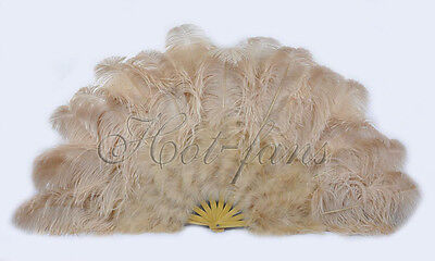 "Beige camel 27"" x 53""  Marabou & Ostrich feathers fan With carrying case"