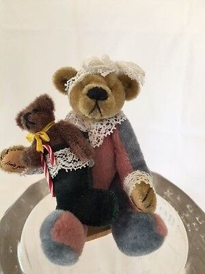 World Of Miniature Bears Bear with Christmas Stocking Unknown Name 1997