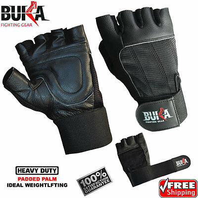 Buka Weight Lifting Gloves Leather Wrist Support Straps Gym Body Building Gloves