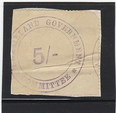 Swaziland 1890 Government Committee Revenue Five Shillings Barefoot #16