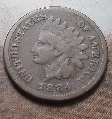1884 Indian Head Cent,very Nice Coin!!!(B)