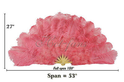 "coral red 27"" x 53""  Marabou & Ostrich feathers fan With carrying case"