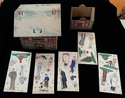 15 Uncut Stand-up Theater or Village Characters + Cardboard House 1930s