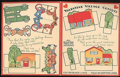 Paper Toy Greeting Cd - Valentine Village Cutouts 1940s