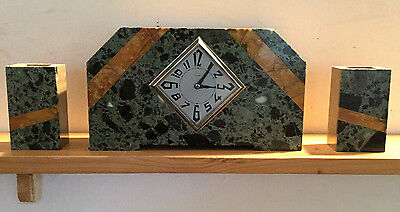 Art Deco Geometric Mantle Clock set with Garniture c1925