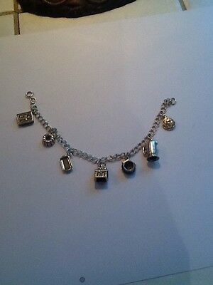 Vintage Sterling Silver Charm Bracelet W/ 7 Charms