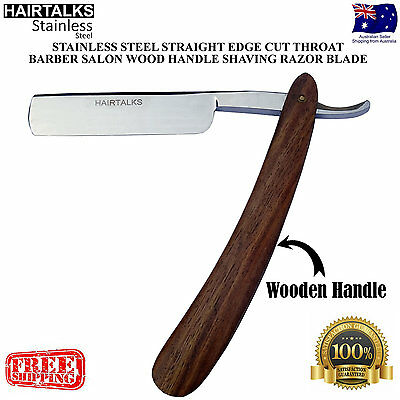 Razor Wood Handle Stainless Steel Straight Edge Cut Throat Salon Shaving Blade