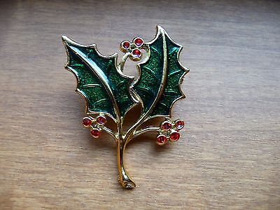 Vintage Beatrix Christmas Holly Leaves Pin