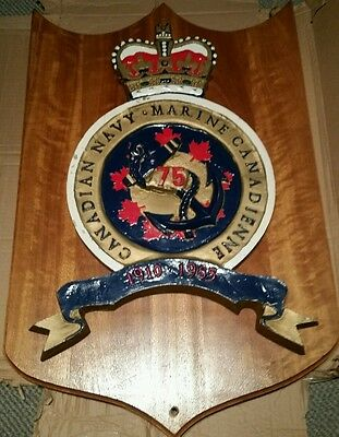 Huge Rare 1985 Royal Canadian Navy 75th Anniversary Plaque