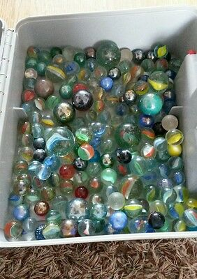 Glass marbles Vintage large job lot over 200 Rare Glass Twist and Metallic