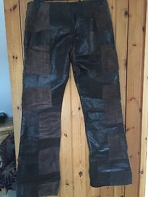 Ladies Patchwork Leather Trousers