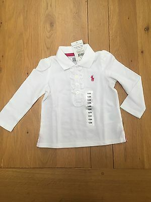 Ralph Lauren Baby Girl Long Sleeves Polo Shirt With Ruffle Front Brand New