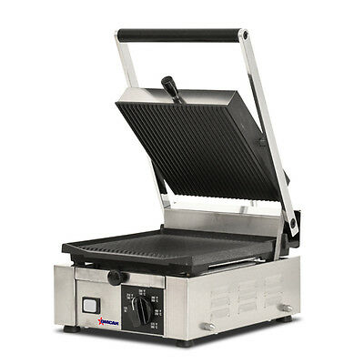 "Commercial Kitchen Countertop Single Ribbed Panini Grill 10"" x 9"" Heavy Duty"