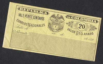 DECLARED COVERINGS OF COLOMBIA year 1890-  20 centavos