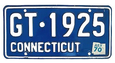 Blue Connecticut July 1970 License Plate GT-1925