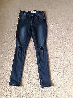 Girls New Look 915 Generation Faded Black Ripped Skinny Jeans Age 10
