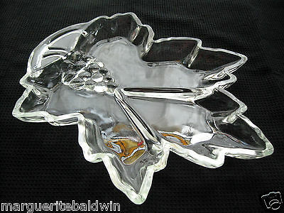 Tiara Indiana Glass Clear Leaf Shape Divided Relish Tray Platter