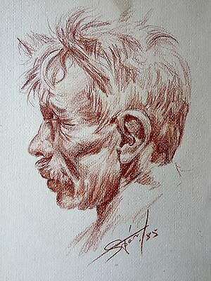 Vintage Portrait Drawing Sketch Pencil Red Chalk Mystery Artist Very Nice