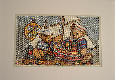 Extra Large Completed Cross Stitch Card - Ahoy! Bears