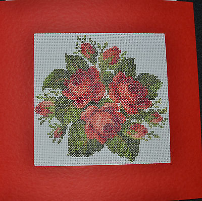 Extra Large Completed Cross Stitch Card - Red Roses