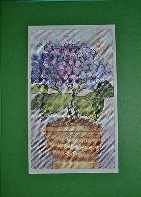 Extra Large Completed Cross Stitch Card - Hydrangeas