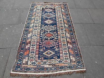 Antique Traditional Hand Made Caucasian Blue Wool Oriental Rug 192x115cm