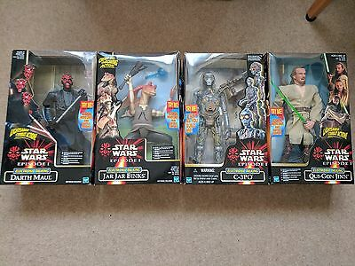 """4 Star Wars Episode 1 Electronic Talking 12"""" Figures set - New And Sealed . TPM"""