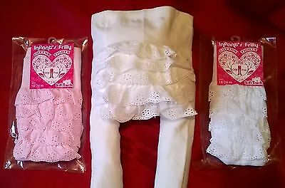 baby christening tights frilly bum pink white ivory broderie anglaise lace new