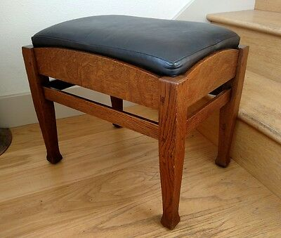 CHARLES LIMBERT OAK FOOTSTOOL Leather Arts & Crafts Mission Stickley Era Antique