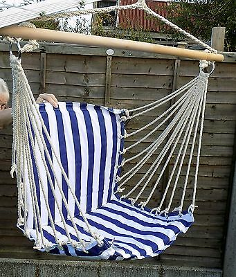 Hammock chair garden playroom furniture blue and white swing treehouse