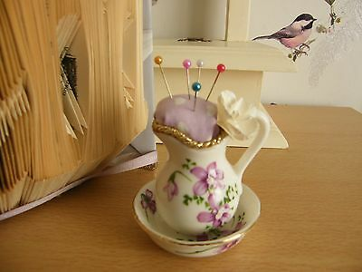 Beautiful Vintage Small Jug And Bowl - Handmade Pin Cushion
