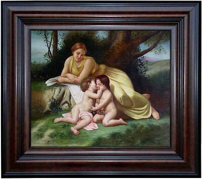 Framed Hand Painted Oil Painting Repro Bouguereau Woman & Children, 20x24in