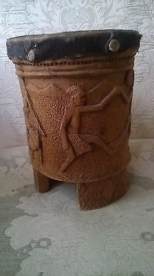 African bongo drum with carvings