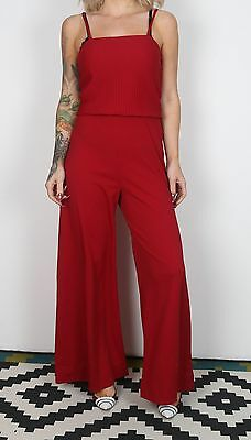 Jumpsuit UK 10-12 S M approx. 1980's Plain 80's All in one  (L3A)
