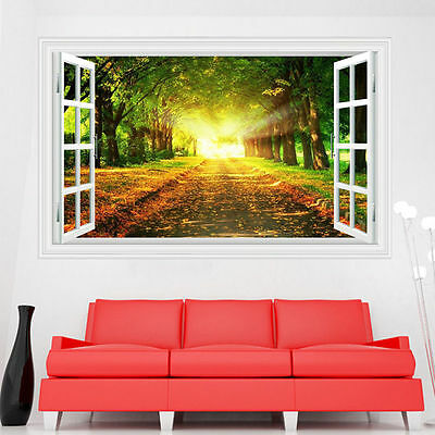 Tree Forest View Scenery 3D Window DIY Wall Sticker Art Room Decals Home Decor