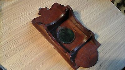 Antique Wall Mounted Mahogany Pocket Watch Stand With Shelves