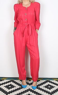 Jumpsuit UK 8 XS approx. 1980's Plain 80's All in one  (L3I)
