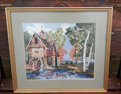 Gorgeous  Framed Cross Stitch Tapestry Picture