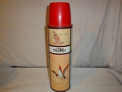 Vintage King Seeley Game Birds Tall Thermos Bottle Pheasant Mallard 1950s