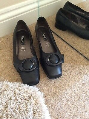 Women's Flat Black Real Leather Gabor Shoes Size 4