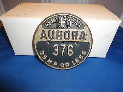 1933 Aurora  Illinois vehicle tax license plate tag 376 round  car motorcycle