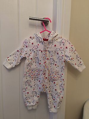 Very Cute 0-3 Month Girls Romper, Dungaree With Cat Detail