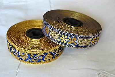 2_Vintage_Gold_Brocade_Jacquard_Ribbons_Trims_23.63_Yards_In_All_N.o.s
