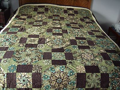 Finished Kaleidoscope Queen Size Pieced Quilt Top in Brown, Green and Turquoise