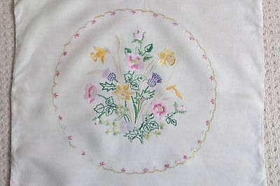 A Pair Of Vintage Linen Hand Embroidered Large Cushion Covers ~ Floral