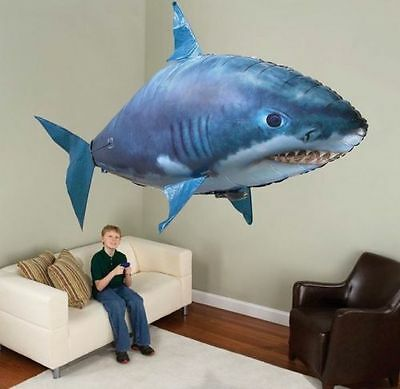 Remote Control Inflatable Balloon Air Swimmer Flying shark Fish Radio Blimp XMAS