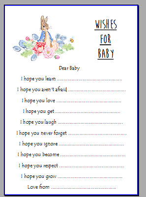 Baby Shower Game Wishes For Baby Boy Girl Favour Beatrix Potter Peter Rabbit
